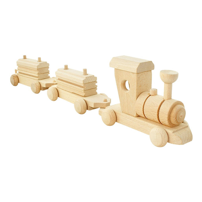 Wooden train set with cargo