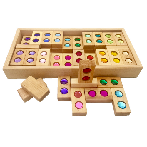 Bauspiel colour street blocks with gemstones - 22 pieces