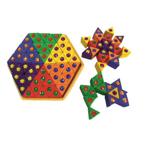 Bauspiel junior triangles with gemstones - 18 pieces