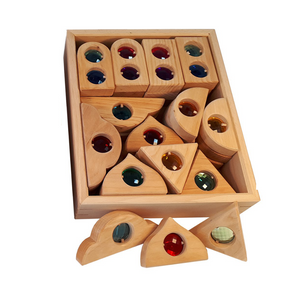 Bauspiel window shapes with gemstones - 12 pieces