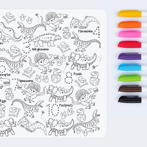 Reusable colouring mat and markers - Dino roar!