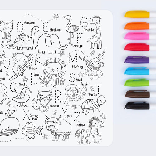 Reusable colouring mat and markers - Into the wild