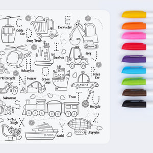 Reusable colouring mat and markers - Toot toot honk!