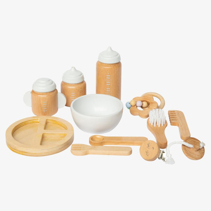Wooden doll accessories kit