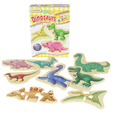 Load image into Gallery viewer, Wooden mini puzzles - dinosaurs