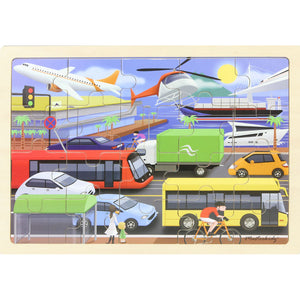 Wooden jigsaw puzzle - transport