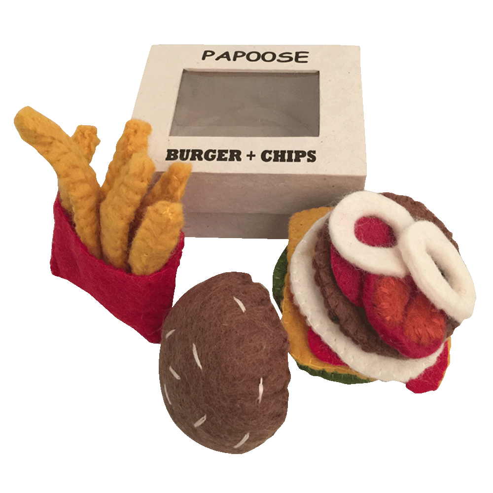 Felt burger and chips set in box