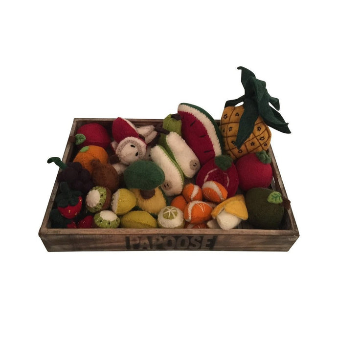 Felt fruit set in wooden crate