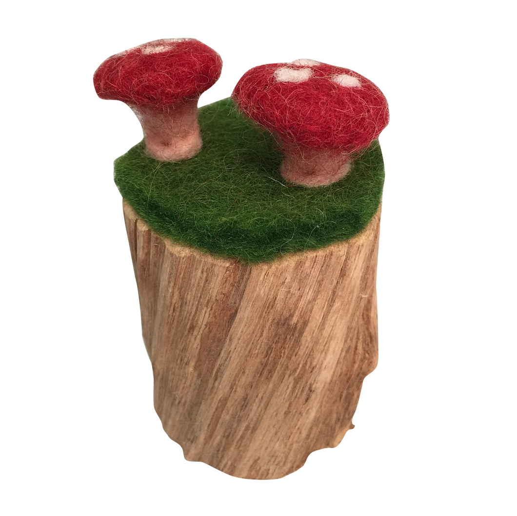 Felt toadstool with wooden trunk