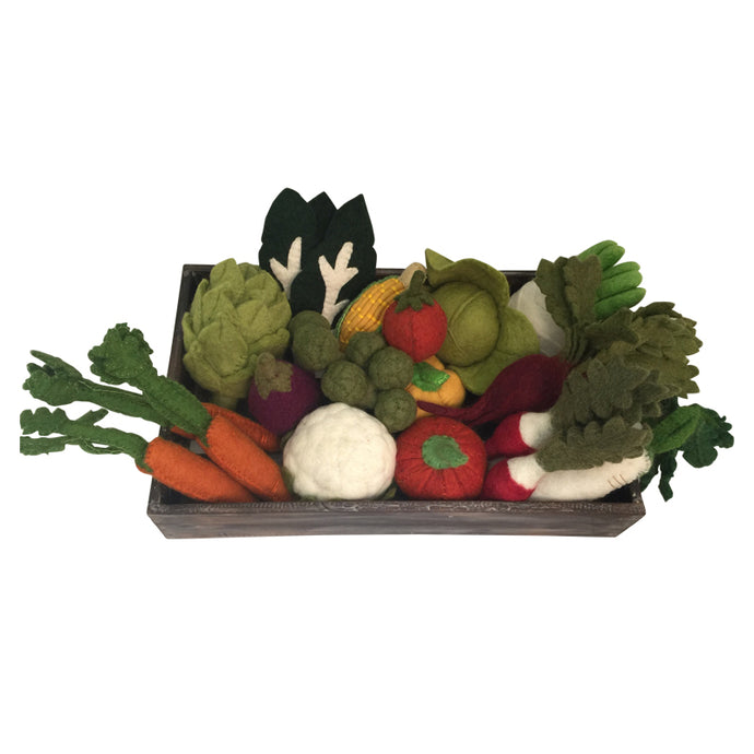 Felt vegetable set in wooden crate