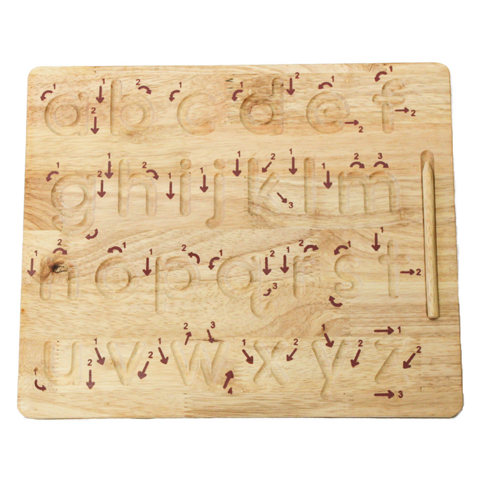 Wooden lowercase alphabet writing board