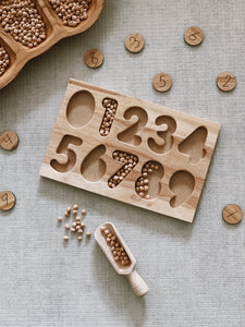 Wooden number puzzle - natural