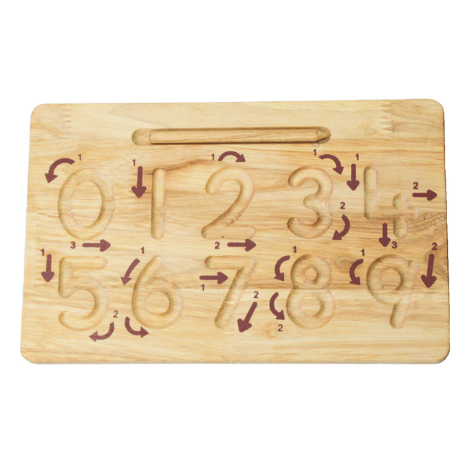 Wooden number writing board