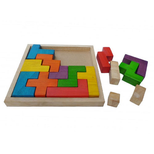 Wooden tetris blocks puzzle