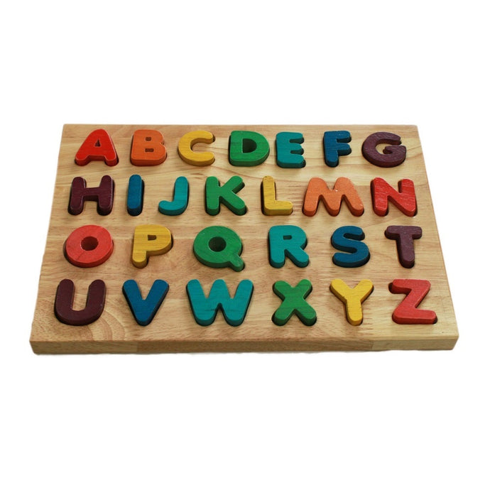Wooden uppercase alphabet puzzle