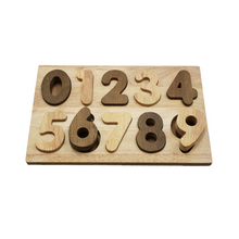 Load image into Gallery viewer, Wooden number puzzle - natural