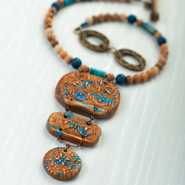 Fashion statement necklace made of clay, sea sediment jasper, picture jasper, druzy and chrysocolla