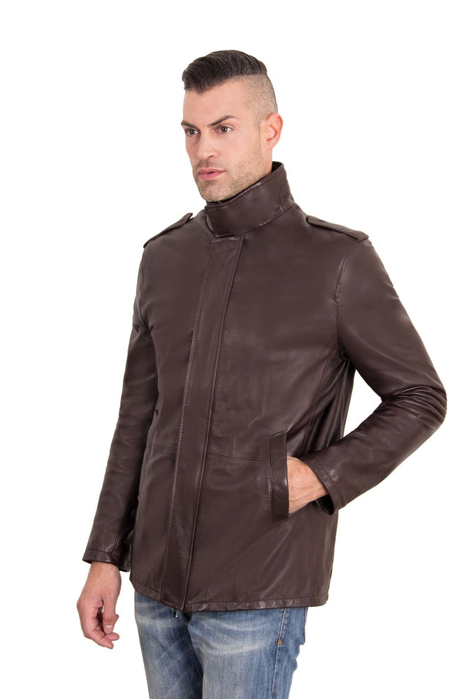 Mens leather padded jacket dark brown color Luca