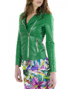 Women's leather jacket green color Elis