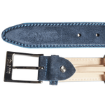 34mm Suede Belt with Lacquered Edge Navy