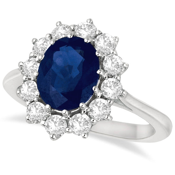 Oval Blue Sapphire & Diamond Accented Ring 14k White Gold (3.60ctw)