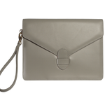 Buffed Calf Leather Envlope Wristlet Pumice