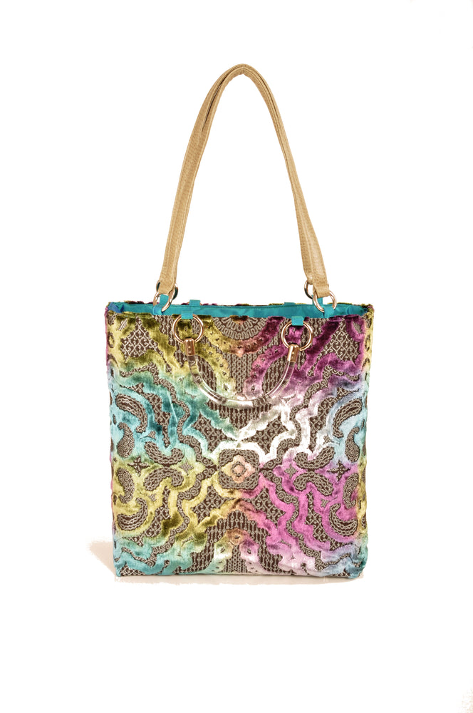 Baroque Teal Large Tote