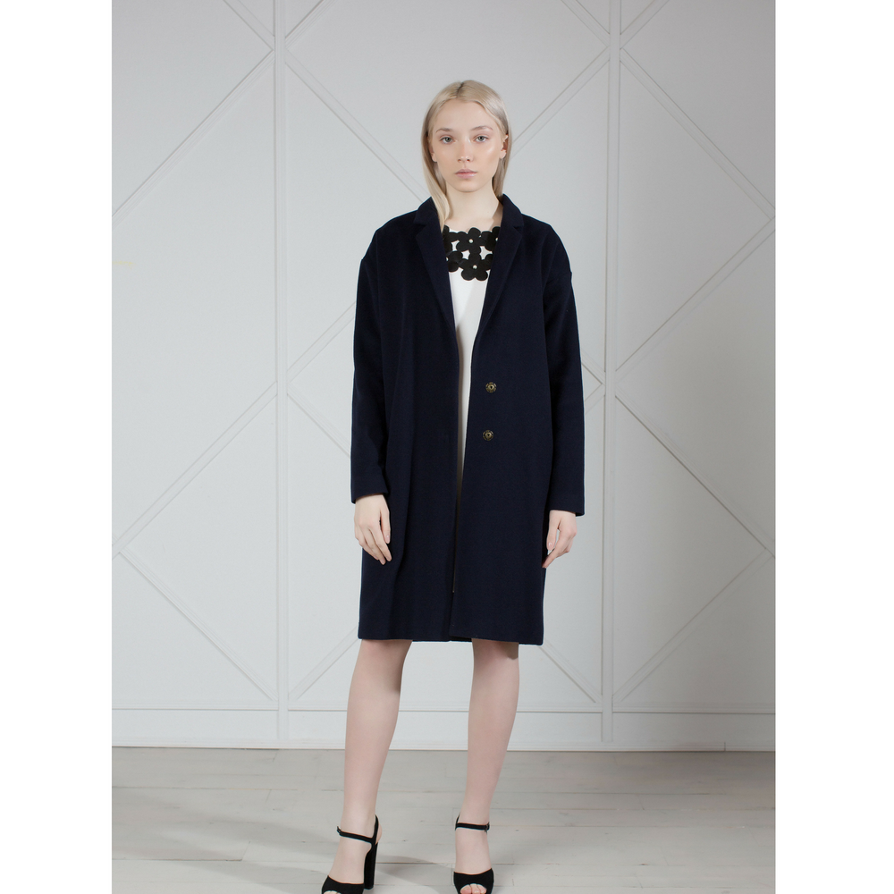 Navy wool cashmere-blend cocoon coat