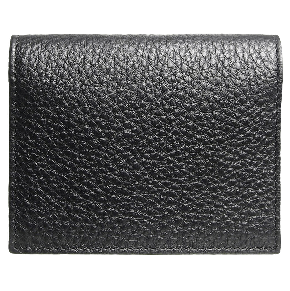 Pebbled Calf Leather Card Wallet Black