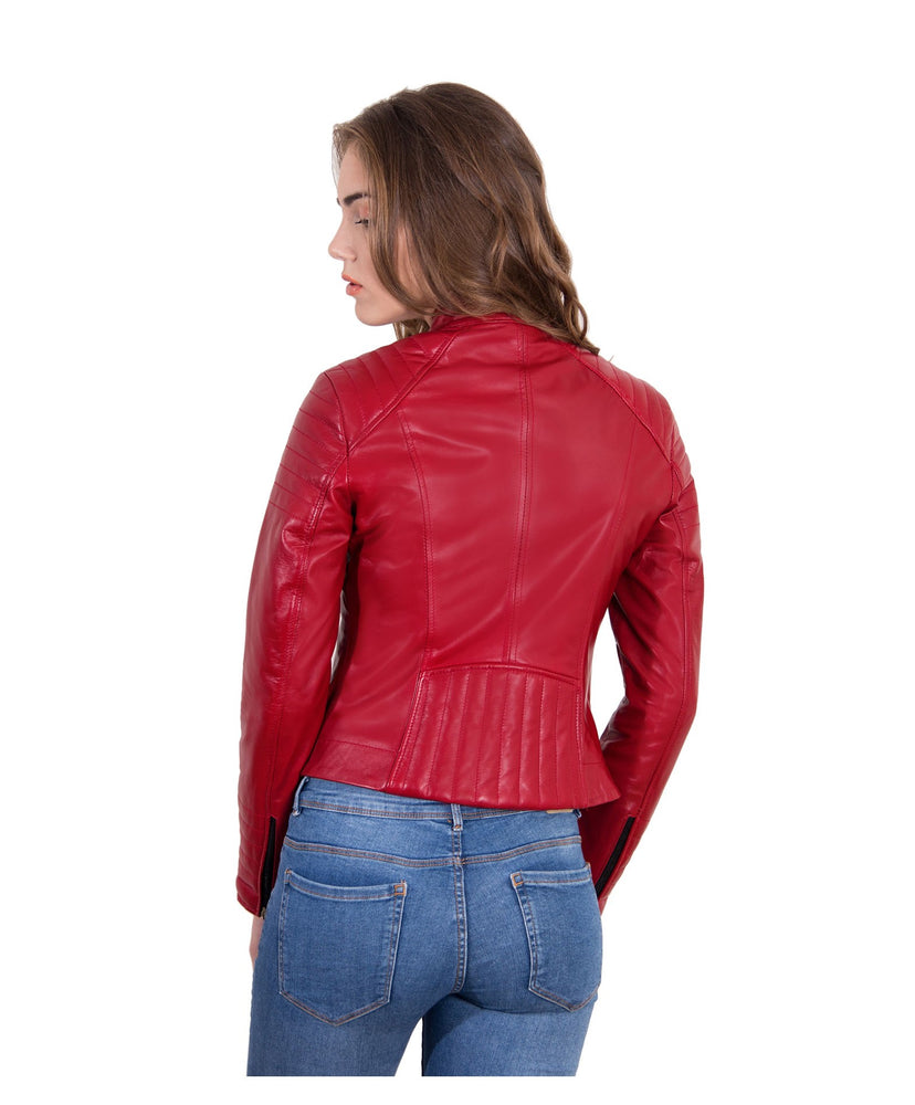 Women's Leather Jacket biker cross zip red color Karim Trap