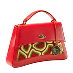 TATI BODUCH Designer Handbag, JASPER Collection, genuine leather: red, knitwear: green