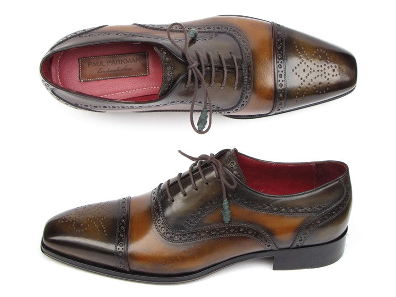 Paul Parkman Men's Captoe Oxfords Camel & Olive Shoes (ID#024-OLV)