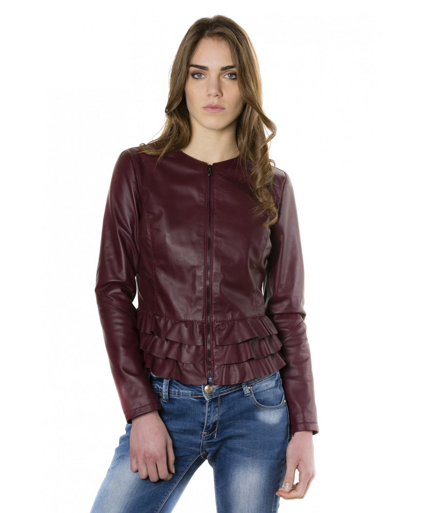 Women's leather jacket red purple color