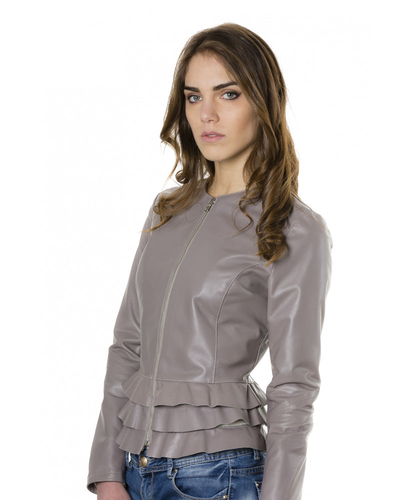 Women's leather jacket grey color F105BL