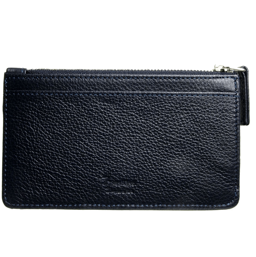 5 CC Grained Calf Leather Zip Wallet Blue