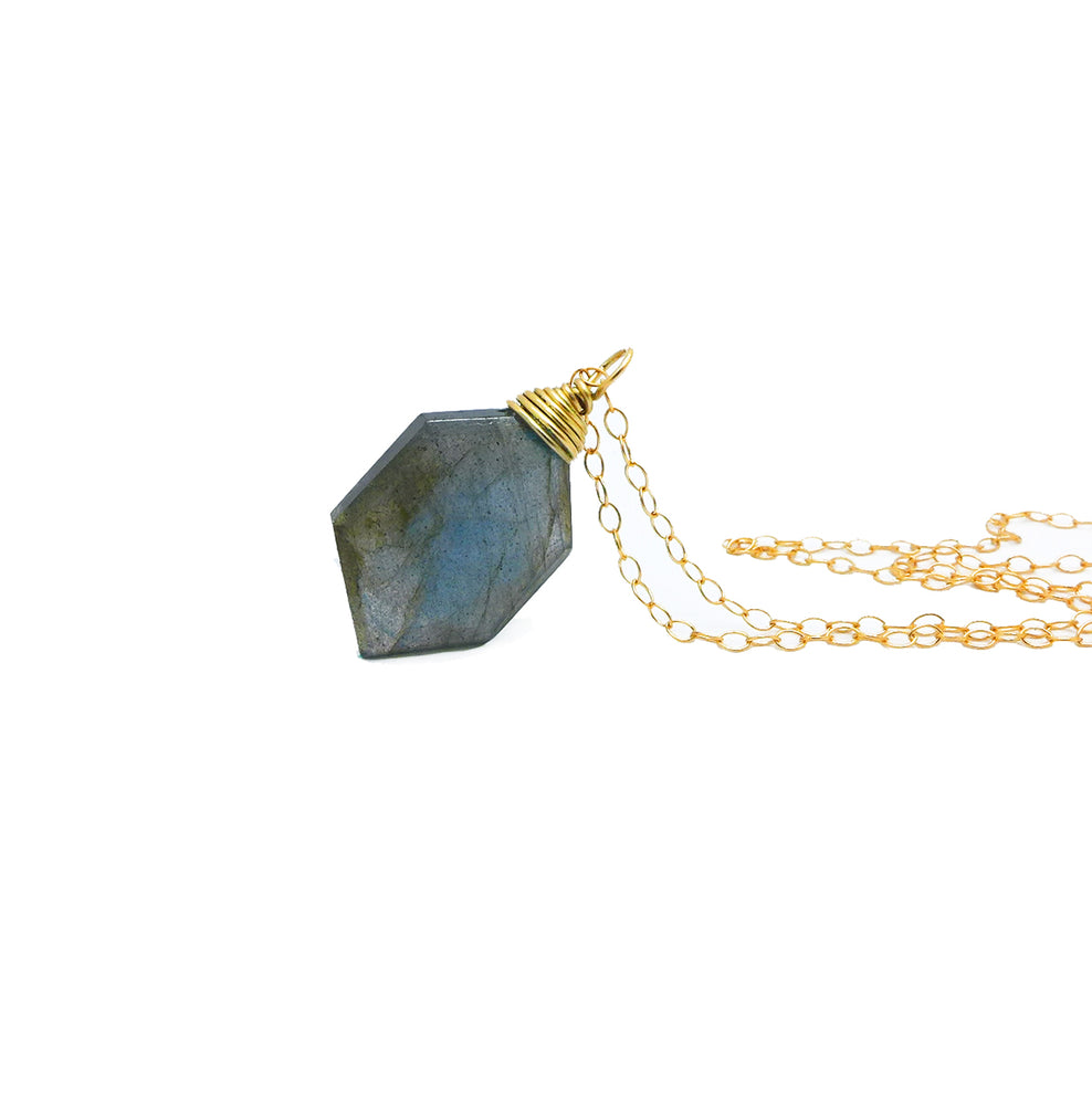 Hexagonal Labradorite Necklace