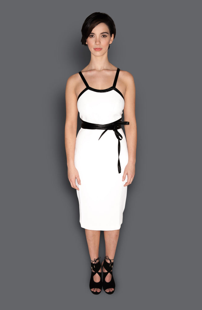White & Black Wrap Around Belt Fitted Sheath Dress