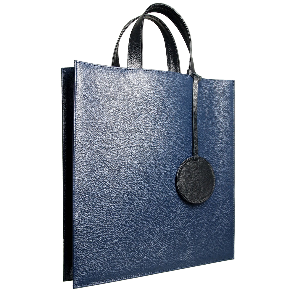 Leather Tote Bag Navy