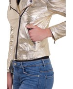 Women's leather biker jacket cross zip gold color KBC