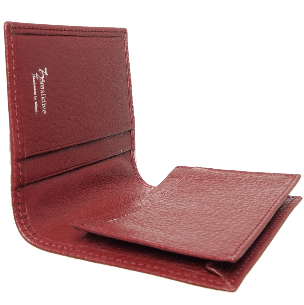 Grained Calf Leather Card Wallet Rosewood