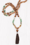 Rice Paddies Mala made with Prehnite, Aventurine, Silver, and Leopard Skin.