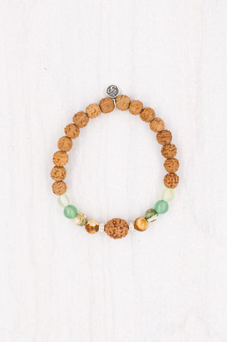 Rice Paddies Bracelet made with rudraksha, silver, prehnite, leopard skin, and green aventurine.