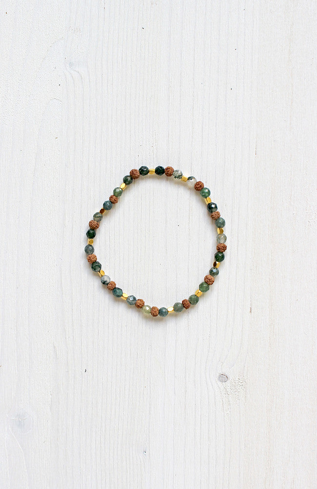 The Durga Bracelet features Moss Agate ��� for strength, harmony, and helping us to gain inspiration from the spiritual world