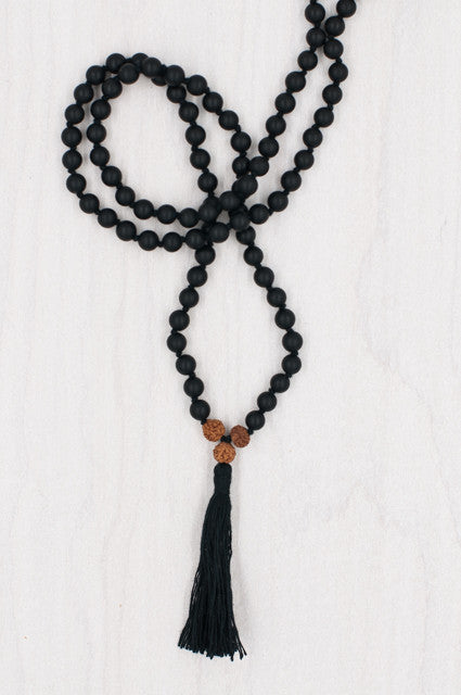 I Am Resilient Mala handmade with matte onyx.