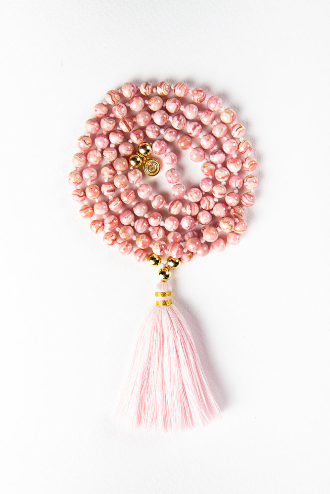 Luxe —  Rhodochrosite and Gold Mala (online exclusive)