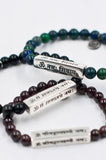 Shiva, Lakshmi, and Ganesh sanskrit mantra bracelets by Mala Collective.