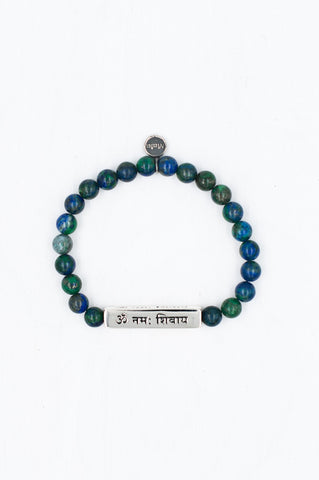This beautiful combination of silver and chrysocolla gemstones honours Shiva