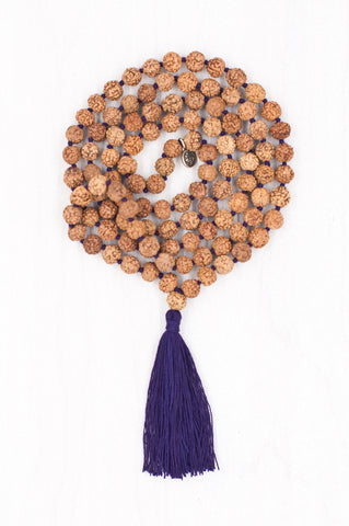 A simple yet sacred combination of rudraksha beads forms this perfect mala.