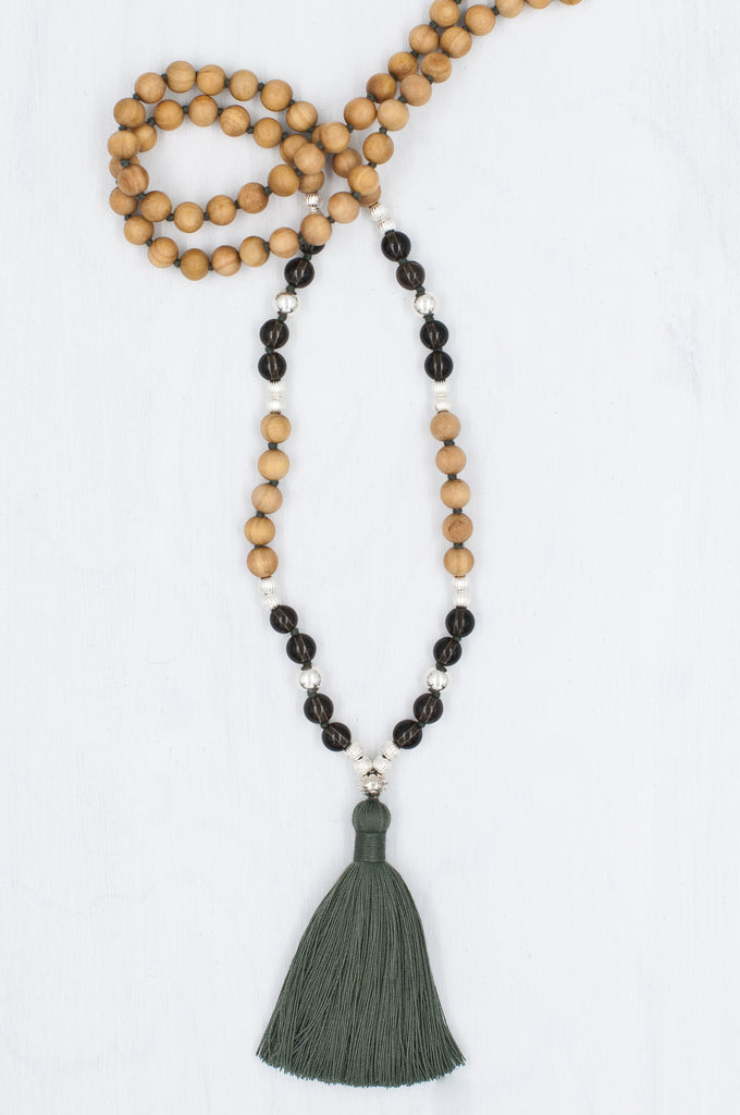 Honour Mala made with smokey quartz, silver, and sandalwood.