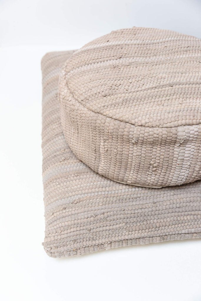 Taupe Chindi Meditation Cushion (Round)